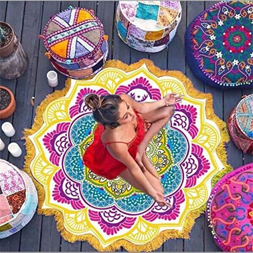 (Lorenlli Runde Strandtuch Tapisserie Quaste Dekor Mit Bällchen Blumen Muster 147 * 147 cm Runde Tischdecke Yoga Picknick Matte)