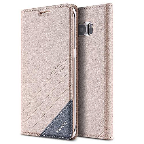 FLOVEME Cover per Samsung S7 edge Custodia Portafoglio a Libro Flip Magnetico Porta Carta Leggero Protettiva per Samsung S7 edge d'Oro