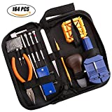 164PC Kit de herramientas de reparación de relojes Profesional primavera Bar conjunto de herramientas, juego de reloj banda enlace Pin herramienta con funda de transporte