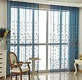 Die Bside Landhaus Voile-Vorhänge, mit Stab, Bestickt, Schmetterlinge, Dekoration für Wohnzimmer, Esszimmer, Kinderzimmer, 1, B x L 52cm, Blau, blau, 52W x 63L Inch, 1 Panel