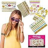 GirlZone: Hypoallergen Glitzertattoo 65er Set - Temporäre Flash Tattoos & Hauttattoo - Temporätattoos - Mädchen Geschenke für Party - Mitgebsel Kindergeburtstag - Karnevaltattoo