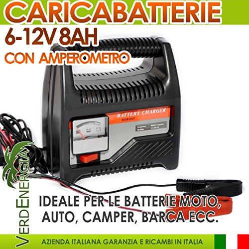Caricabatterie portatile 6-12V 8A con Amperometro per Batterie Moto Autoveicoli Imbarcazioni