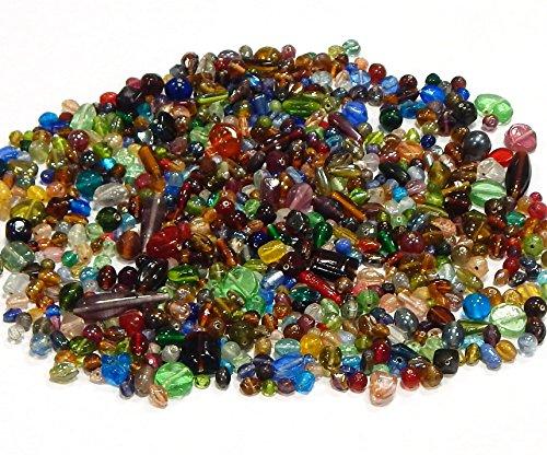 Glas Bead Kit (250g Glasperlen Mix Kit Glas Kinder Perlen zum Fädeln Silberfolie Lampwork Glasschliffperlen Feuerpoliert Rund Oval Bunte Perlenset Bastelset zur Schmuckherstellung von Halsketten Armband (250))