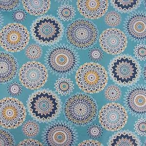 SCHÖNER LEBEN. Tischdeckenstoff Wachstuch beschichtete Baumwolle MANIJA Ethno Mandala Blumen türkis gelb blau