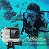 Amzdeal Action Camera HD 4K WiFi 1080P  impermeabile 170 gradi camma sportiva con kit di accessori di montaggio per immersioni in bicicletta arrampicata caccia