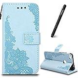 Hülle für Huawei P8 Lite 2017 Hellblau,Slynmax Glitzer Flip Tasche Schutzhülle für Huawei P8 Lite 2017 Wallet Case Slim Leder Brieftasche Lederhülle Ständer Kartenfächer Magnetverschluss Handytasche