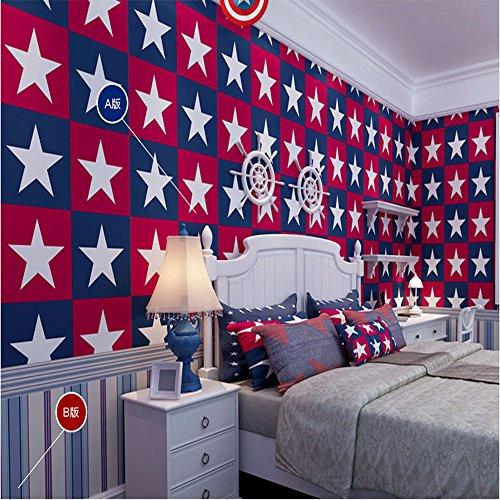 Qihang cameretta bambini carta da parati Capitan America grande pentagramma stile boy camera da letto 0,53m * 10m = 5.3sqm, Non-lana, Red,Blue,white, 0.53m wide,10m length,about 5.3 Square meters