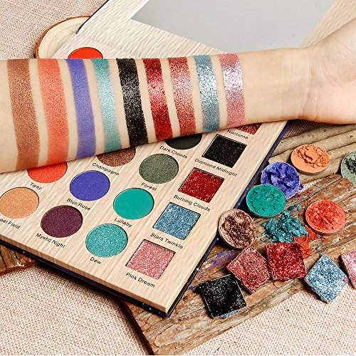 DE'LANCI Eyeshadow Makeup Palette, 5 Glitter and 20 Matt&Shimmer Eyeshadow, Highly Pigmented Makeup Palette with Makeup Mirror
