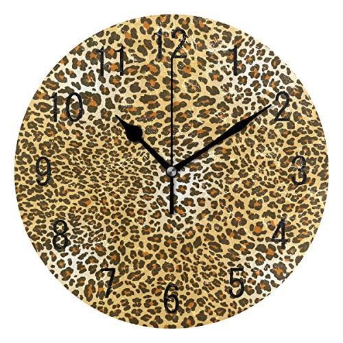 Domoko Home Decor Braun Leopard Print Animal Haut Acryl, Rund Wanduhr Geräuschlos Silent Uhr Kunst Wohnzimmer Küche Schlafzimmer