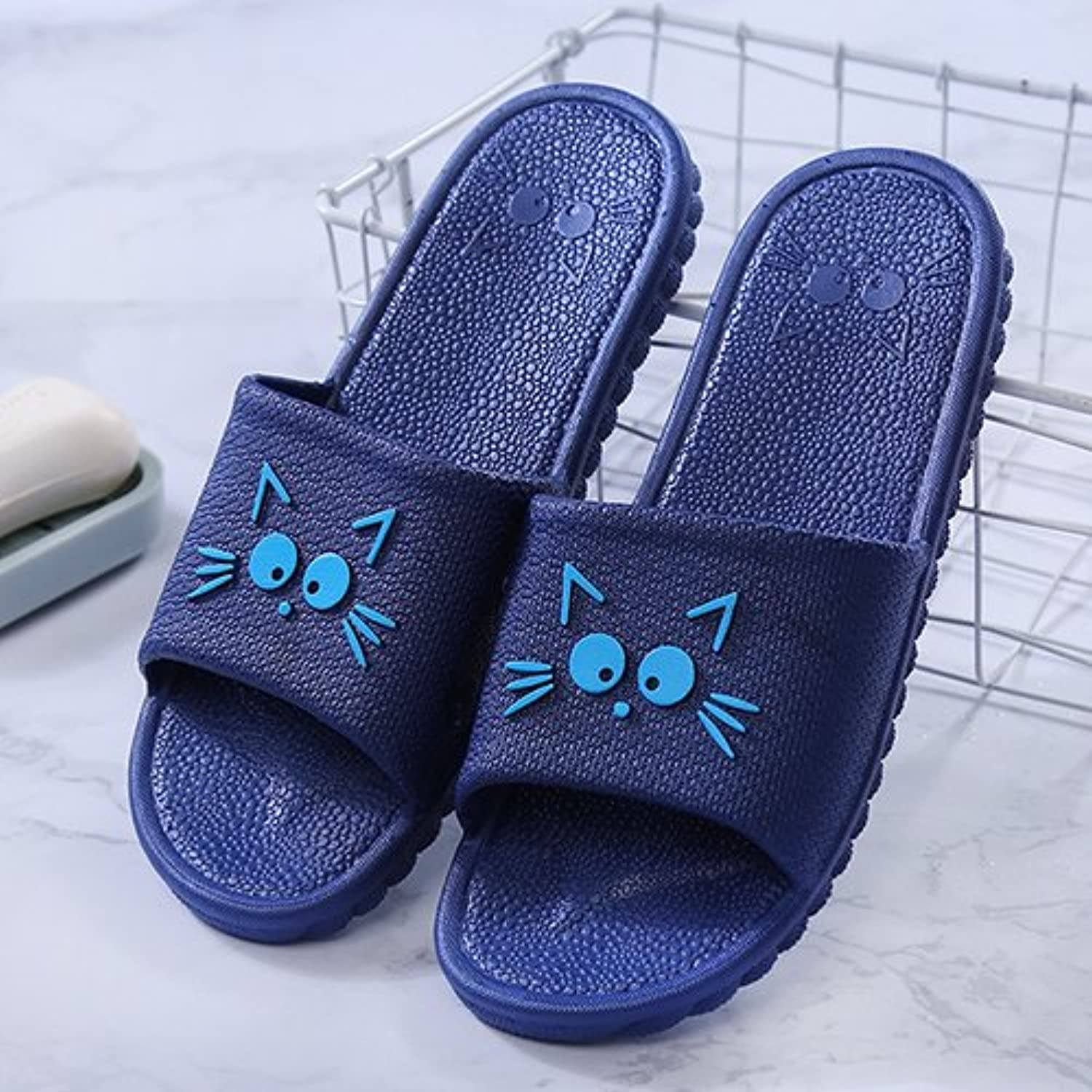 fankou Indoor Slippers Summer Home Shoes Non-Slip Soft Bottom Men's Striped Cold Baths There and a Couple of,43...