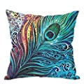 Retro Cotton Linen Peacock Feather Waist Cushion Cover Pillow Case Home Decor
