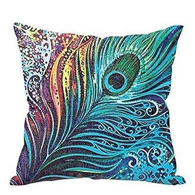 Retro Cotton Linen Peacock Feather Waist Cushion Cover Pillow Case Home Decor