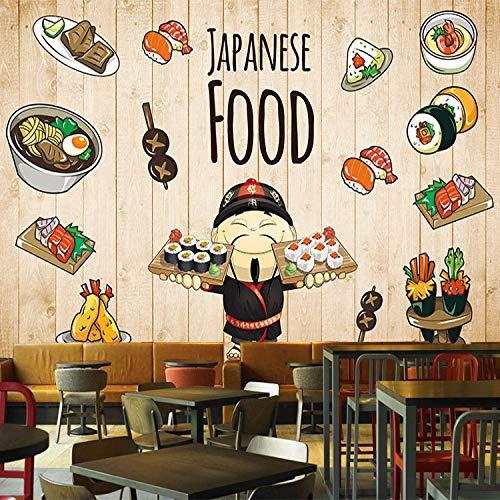 3D Vlies Fototapete Wallpaper Mural Cartoon Handgemalte Sushi Menü Menü Dekoration Wandbild Japanischen Essen Sushi Shop Tooling Hintergrund Tapeten, 350 * 245 Cm