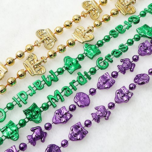 BESTOYARD Mardi Gras Necklaces Beaded 3 Colors Masquerade Crown Chains Necklace for St  Patrick s Day Carnival Party Costume Suppliers 36PCS