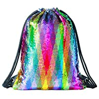 Segorts Mermaid Drawstring Bag Magic Reversible Sequin Backpack Glittering Dance School Bag for Yoga Outdoors Sports,Women