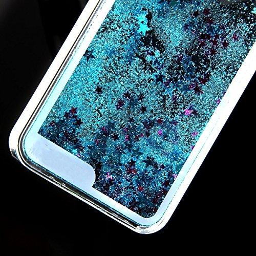 iPhone 6 Hülle, iPhone 6s Hülle, E-Lush PC Hardcase 3D Bling Fließen Dynamisch Treibsand Quicksand Schwimmend Flüssige Liquid Gliter Shinny Sparkle Kristall Crystal Flowing Floating Moving Stars Handy Blau