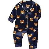 Conjunto de Trajes de niños pequeñosNiño Bebé Niños Manga Larga Dibujos Animados Oso Tops + Pantalones Pijamas Ropa de Dormir