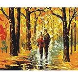 ERTQA Dipinto a Mano Moderno colorato Albero tavolozza Coltello Pittura a Olio su Tela Coppie passeggiare nei boschi Wall Art Decorazione della casa 40x50 cm