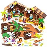 Baker Ross AX585 Foam Kerststal Pak - Pak Van 2, Creatieve Knutselspullen Voor De Kinderen Om Te Maken En Te Versieren