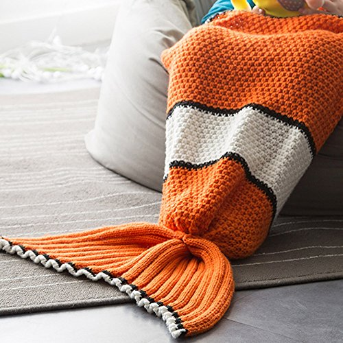 Neify - Kinder Clown Fischschwanz Meerjungfrau Schwanz Decke mit Fisch-Maßstab Muster Handgefertigt gestrickt - All Seasons Strickdecke Schlafsack 70 * 140cm (27.55 Zoll x55.11 Zoll)