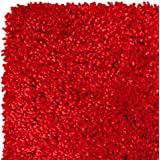 Home Life Alfombra con Diseño Super Shaggy, Polipropileno, Rojo, 60 x 110 cm