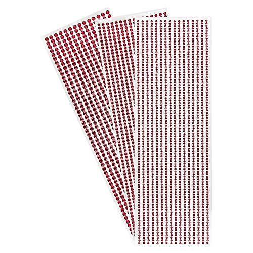 Strass-Bordüren zum Basteln, selbstklebend, runde Schmucksteine, 3 Bogen mit Schmucksteinen à Ø 3mm, Ø 4mm, Ø 5mm | Glitzersteine, Kristalle...