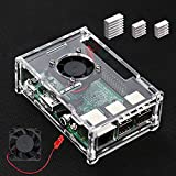 VSTON Raspberry Pi 3 B + Fall mit Lüfter und 3 Pcs Kühlkörper für Raspberry Pi 3 Modell B +/Pi 3 Modell B/Pi 3/Pi 2/Pi 2B Klar