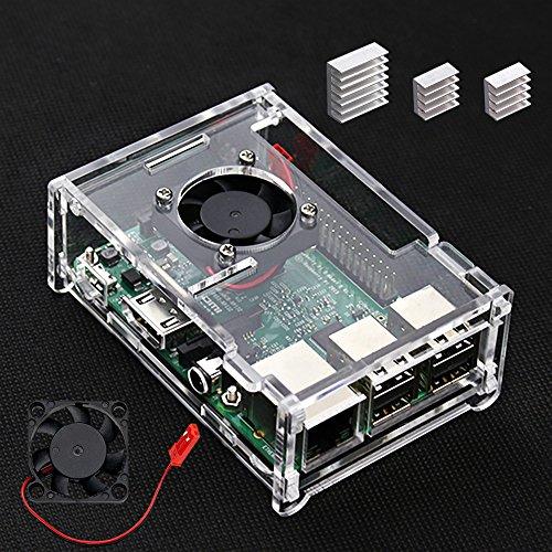 VSTON Case per Raspberry Pi 3 B+ con Ventola e 3 PCS Dissipatori per Raspberry pi 3 Modello B + / Pi 3 Modello B/Pi 3 / Pi 2 / Pi 2B Cancella