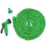 Haehne Gartenschläuche - Flexibel Erweiterbar Schlauchleitung Nicht Kink Wassersprühdüse 7-in-1 Multinational Spritzpistole Licht Wight (150ft, Grün)