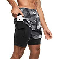 Superora Men's Running 2 in 1 Workout Sports Shorts Gym Training Jogging Shorts Quick Dry Breathable with Pockets with…