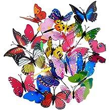 Shappy 20 Piezas Estacas de Mariposas de Jardín y 4 Piezas Estacas de Libélulas Adornos de