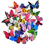 20 Pezzi Farfalle da Giardino Stake e 4 Pezzi Libellule da Giardino Stake Ornamenti per Yarde Terrazza Festa Decorazione, 24 Pezzi Totalmente (Normale)