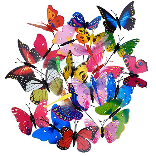 20 Pieces Garden Butterfly Stakes and 4 Pieces Dragonfly Stakes Garden Ornaments for Party Patio Decoration, Completely 24 Pieces