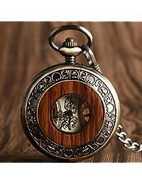 QB-Pocket watches Reloj de bolsillo para hombres y mujeres Collar retro de madera para estudiantes Collar de regalo para cumpleaños Pareja de letras creativas de San Valentín