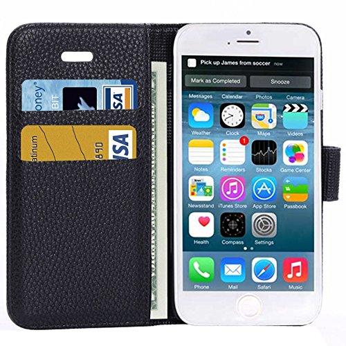 wortek Flip Case Apple iPhone 6 4,7 Zoll Tasche Etui Magnetverschluss Standfunktion & Kartenfach Weiß Schwarz