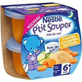 Nestlé Bébé P'tit Souper Carottes Courgettes Semoule - Soupe dès 6 Mois - 2 x 200g - Lot de 8