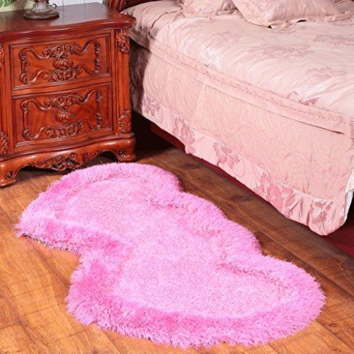 tapis scandinave Simple et élégant chambre en forme de coeur chevet extensible élastique en soie salon table basse (Couleur : Rose, taille : 70 * 140cm)
