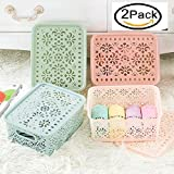 #6: Orpio New Desktop Storage Basket Plastic Toy Organizer Storage Box with Cover fruits vegetable , Clothing Underwear Socks Finishing Storage (Pack Of 2)