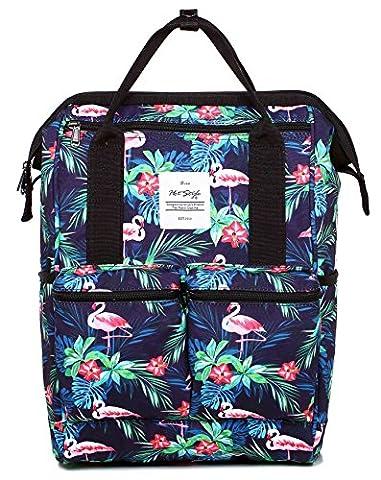 HotStyle DISA Fashion Blumen Damen Laptop Rucksack 14 zoll (44x27x17cm) - Tropisch Flamingos
