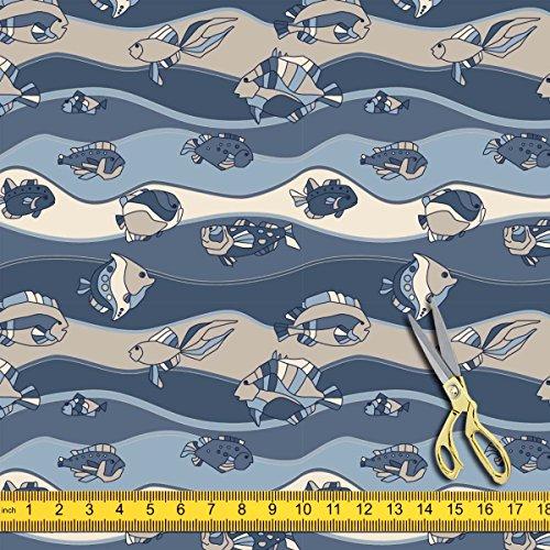 Fish Water Cold Tank (AZ Fish Aquarium Satin Fabric Dress Material & Upholstery 1.3metre x 1metre;SATIN)