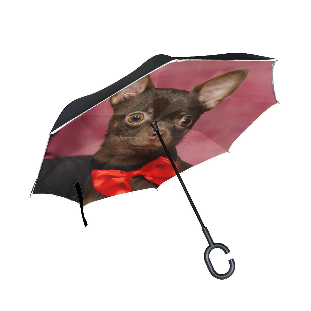 JOCHUAN Animal Dog Affenpinscher Brown Small Fluffy Puppy Adorable Pet Inverted Umbrella Large Double Layer Outdoor Rain Sun Car Reversible Umbrella
