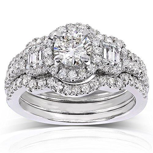 & Baguette, con Set di diamanti da 1/2 carato (ctw) in oro bianco 14 k (3 pezzi), Oro bianco, 25, cod. 61930R-DZ_11.0