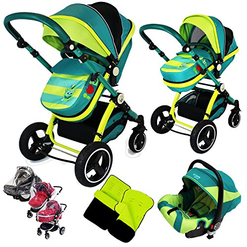 i-Safe System – Lil Friend Trio Travel System Pram & Luxury Stroller 3 in 1 Complete With Car Seat + Footmuff + Carseat Footmuff + RainCovers 61BvxOiNwAL