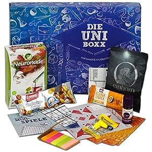 Uni-Boxx (13 Teile) - hochwertiges Geschenk für Studenten zur Lernmotivation   mit Studentenfutter, Neuronade, vielen Lernhilfen, gesunden Snacks & Co.   Die Geschenk-Box für Uni-Start & Prüfungszeit!
