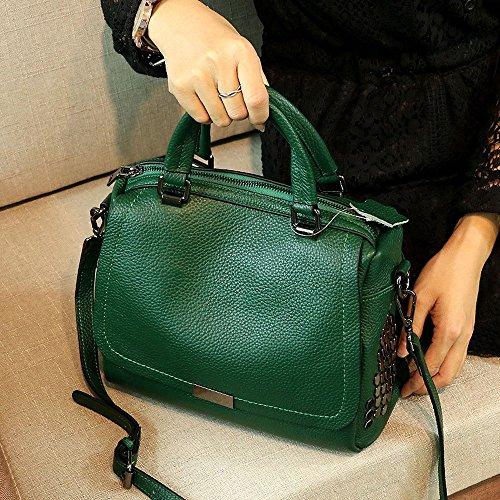Sac femelle nouvelle marée été mode douce première couche en cuir sauvage Messenger sac portable en cuir sac à main (Color : Green)