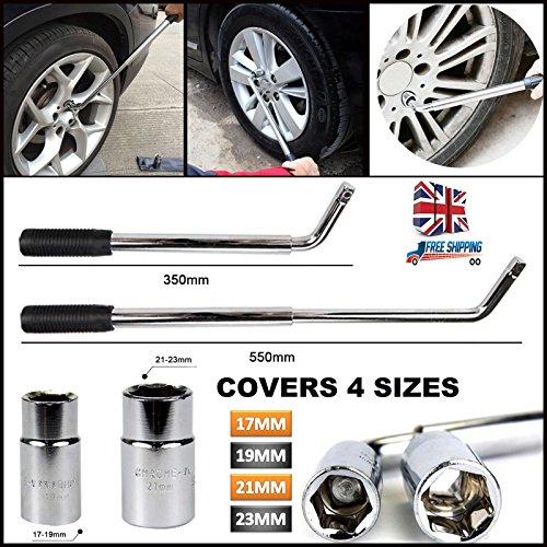 Pneu de voiture Remover extensible Roue Brace 17 19 21 et 23 mm Douille à enroulement Clé à 350-550 mm