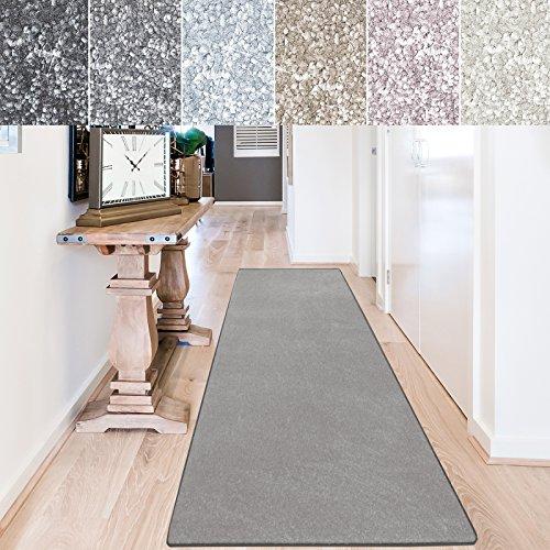 casa pura Teppich Läufer Sundae | Meterware | Teppichläufer für Wohnzimmer, Flur, Küche usw. | kuschlig weich | mit Stufenmatten kombinierbar (Silber - 80x500 cm)