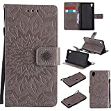 For Sony Xperia M4/M4 Aqua Case [Gray],Cozy Hut [Wallet Case] Magnetic Flip Book Style Cover Case ,High Quality Classic New design Sunflower Pattern Design Premium PU Leather Folding Wallet Case With [Lanyard Strap] and [Credit Card Slots] Stand Function Folio Protective Holder Perfect Fit For Sony Xperia M4/M4 Aqua 5,0 inch - gray