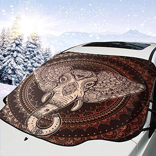 Mattrey - Parasol para Parabrisas de Coche con diseño de Elefante Oriental, Negro, Talla única