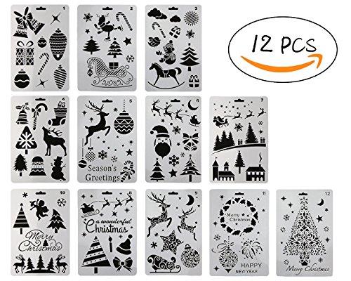12pezzi di plastica pittura stencil, natalizi Babbo Natale albero di Natale pupazzo di neve Elk Jingle Bell disegno spruzzatura modelli 25,4cm × 17,8cm per lavoretti fai da te progetto